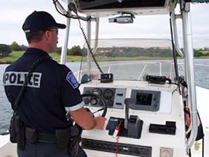 Police Patrol Boat with Raymarine radar, sonar and VHF radio